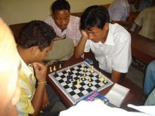 Trainees playing chess during DIET Week